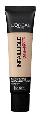 L'Oréal Paris Infaillible 24H-Matt in Nr. 12 Natural Rose, langanhaltendes Flüssig-Make-up mit hoher Deckkraft, 35 ml