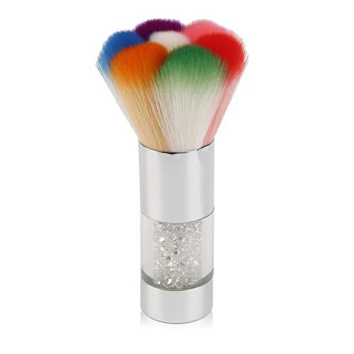 Cheveux en nylon Coloré Nail Brosses à poussière Acrylique UV Nail Gel Poudre Nail Art Décorations Dust Remover Brush Cleaner Makeup Foundation - Silver