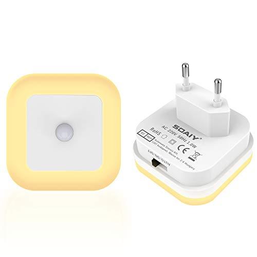 SOAIY [2 PCS] LED Luz nocturna con sensor de movimiento crepuscular Auto/on/off Bajo consumo enchufe Luz PIR de orientación para Cuarto de los niños Dormitorio Pasillos Escaleras, Blanco Cálido