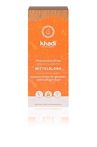 khadi Pflanzenhaarfarbe Mittelblond 100g I Naturhaarfarbe für mittleres und goldenens Blond I 100% natürlich und vegan