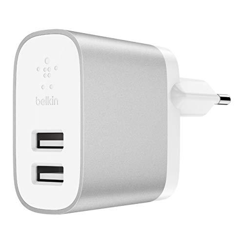Belkin F7U049vfSLV Boost Charge 2-Port Netzladegerät mit Lightning/USB-A-Kabel Silber