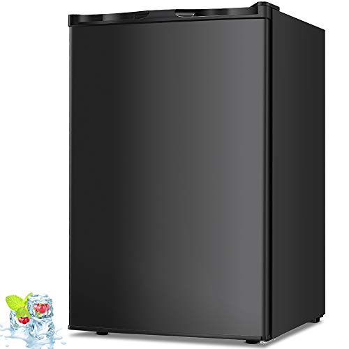 Kismile 3.0 Cu.ft Compact Upright Freezer with Reversible Single Door,Removable Shelves Mini Freezer with Adjustable Thermostat for Home/Kitchen/Office(3.0 Cu.ft, Black)