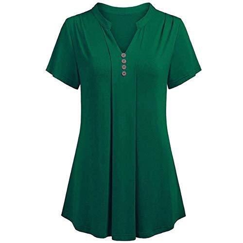 Morton PegfwaS T-Shirt Estiva da Donna T-Shirt Abbottonata con Scollo A V Camicia da Donna di Grandi Dimensioni
