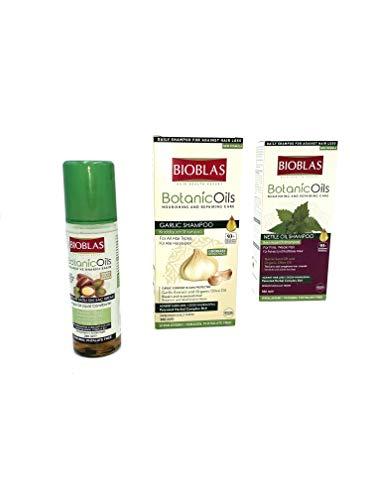 ÖZEL VERSAND Bioblas Set 1x 200ml Bioblas Arganöl, 1x 360ml Bioblas Knoblauchshampoo, 1x 360ml Bioblas Brennnessel Shampoo, Haarpflege, Haarausfall, für alle Haartypen ÖZV