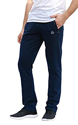 SCR SPORTSWEAR Men's Sweatpants All Day Comfort Workout Athletic Activewear Lounge Pants with Zipper Pockets Long Inseam Pants for Tall Men (L X 36L, Navy-K434) from SCR SPORTSWEAR