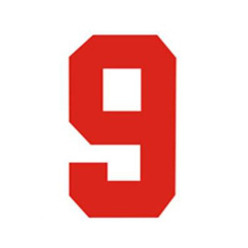 Zahlen Bügelbild für Fußball Baseball Trikot Sport T-Shirt Solid Schriftart Rot, Zahl-9, S(3.5