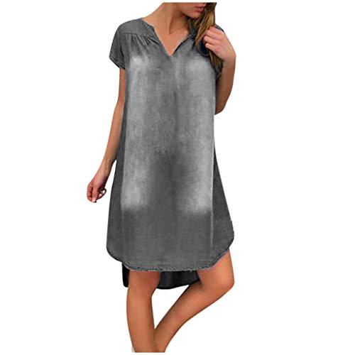 Damen Kleid, Dasongff Sommer Jeanskleid Hemdkleid V-Ausschnitt Kurzarm Lose Minikleid Denim Jeans Kleider Vintage Schickes Freizeitkleid Sommerkleid (Grau, S)