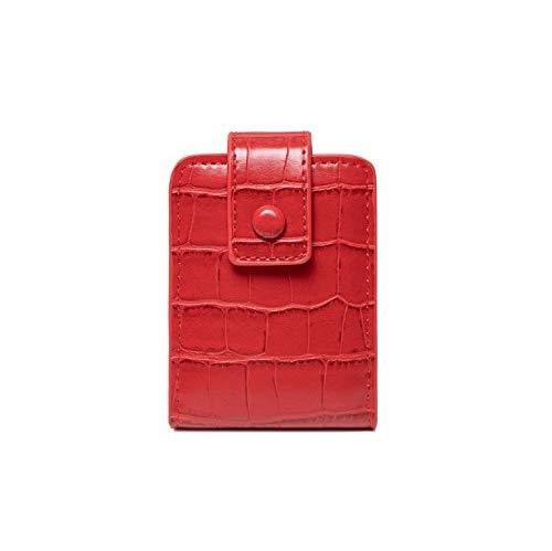 Confortabil Neceser para cosméticos o pintalabios, tamaño pequeño, piel sintética, 7 x 3 x 9 cm, color rojo