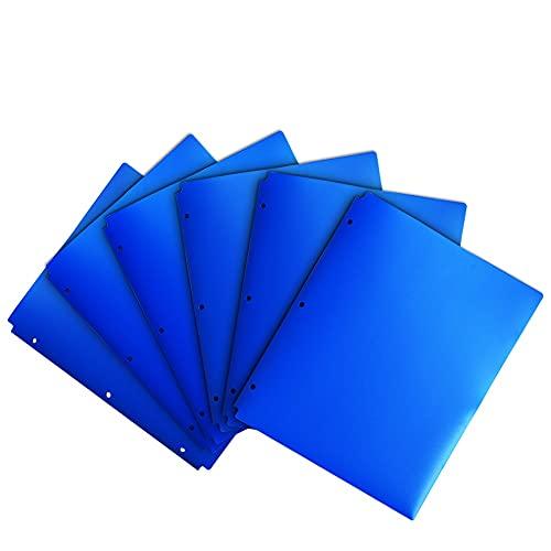 COMIX 2 Pocket Letter Size Poly File Portfolio Folder with 3-Hole Punch - 12 Pack-A2140 (Blue)