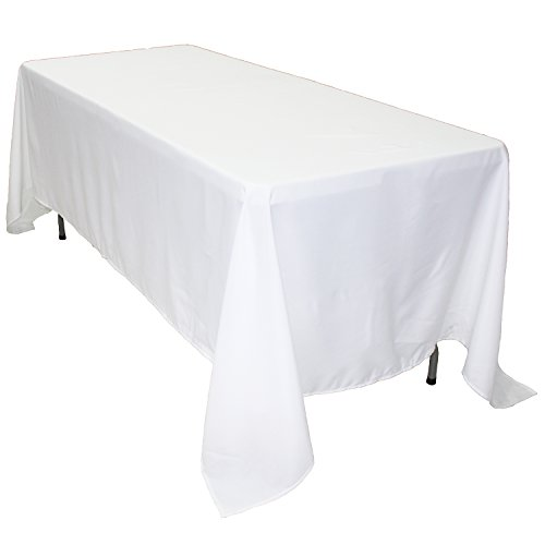 KAITATSU SEN Rectangular Polyester Fabric Tablecloth, White, 70x120-inch