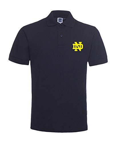 Notre Dame Fighting Irish Short-Sleeve Polo Shirt Cotton/Poly Luxury Blend (Medium) Navy