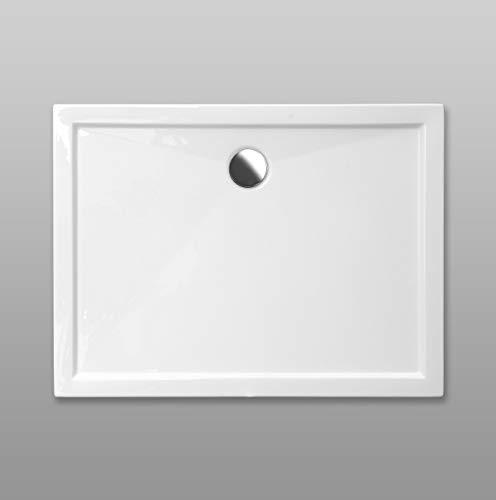 Duschwanne AQUABAD® Comfort SIMPLON rechteckig 80 x 90 cm, Extraflache Acryl-Duschtasse, Aufbau-Höhe: 5,5 cm