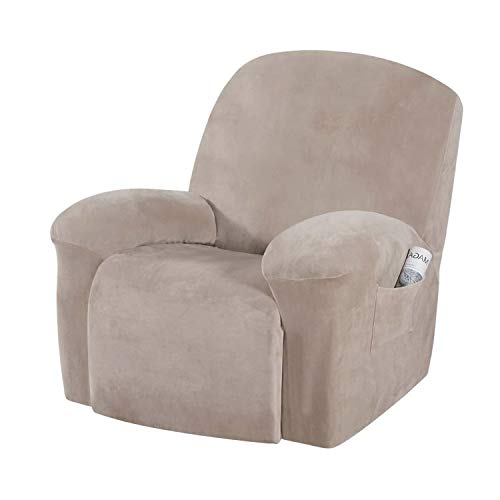 E EBETA Funda de sillón Terciopelo-óptico, Capuchas elásticas para sillón, Elástico Funda para sillón reclinable (Caqui)