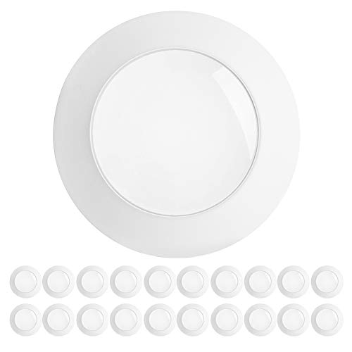 "Freelicht 20 Pack 5/6"" LED Disk Light, Dimmable Led Flush Mount Ceiling Light, 15W=120W, 1100LM 3000K, Installs into Junction Box or Recessed Can, Energy Star & ETL"