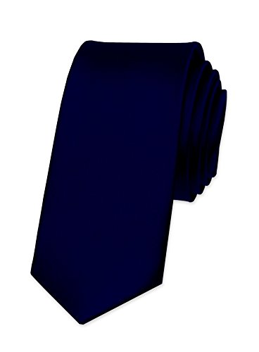 Autiga® Krawatte Herren Hochzeit Konfirmation Slim Tie Retro Business Schlips schmal dunkelblau