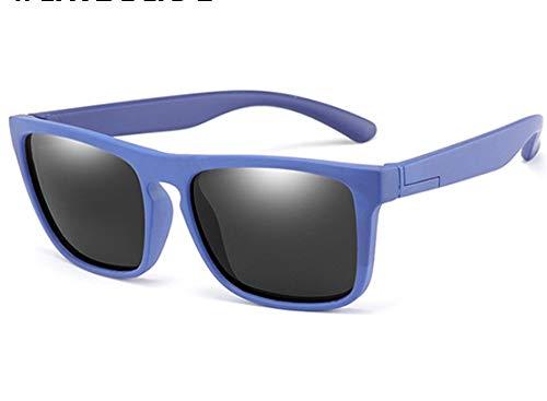 WSXEDC Gafas De Sol,Gafas De Sol Polarizadas para Niños Gafas De Sol Negras Lente Silicona Infantil Seguridad Flexible Azul Gafas De Sol con Montura Cuadrada Protección UV 400