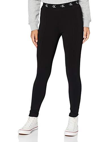 Calvin Klein Jeans Damen Milano Trim Legging Hose, Ck Schwarz, L