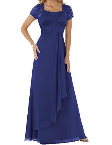 HUINI Abendkleider Chiffon Lang Brautmutterkleider Hochzeitskleider Empire Ballkleider Kurzarm Festkleider Königsblau 46