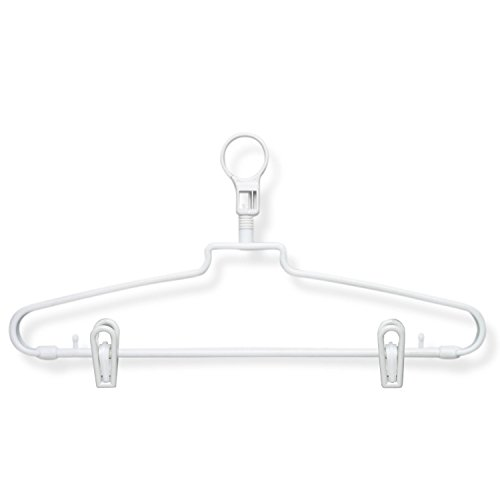 HoneyCanDo 72-Pack Hotel Hangers with Security Loop with Clips, White