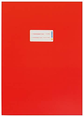 HERMA 19748 Karton Heftumschlag DIN A4 mit Beschriftungsetikett, aus stabilem und extra starkem Papier, Heftschoner für Schulhefte, rot