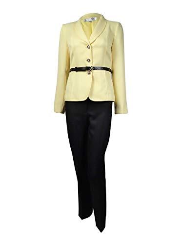 TAHARI Women's Belted Shawl Lapel Three Button Pant Suit (14, Yellow/Black)
