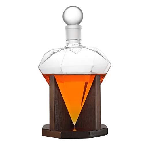 polar-effekt Diamant Whiskey Dekanter 1000 ml, bleifreiem Glas Design-Karaffe mit Holzständer & luftdichtem Glass Stopper, dekorative Bar, Scotch, Rum, Bourbon, Wodka, Tequila, Wein, Likör