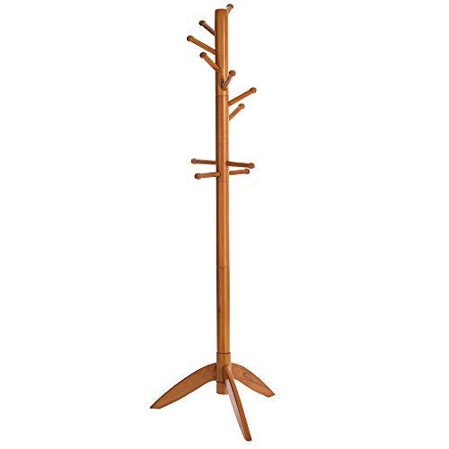 VASAGLE Garderobenständer, Kleiderständer mit 11 Haken, freistehende Garderobe in Baumform, aus Massivholz, für Kleidung, Hüte, Taschen, eichefarben RCR02BR