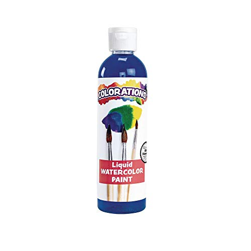 Colorations LWBL Liquid Watercolor Paint, 8 fl oz, Blue, Non-Toxic, Painting, Kids, Craft, Hobby, Fun, Water Color, Posters, Cool effects, Versatile, Gift