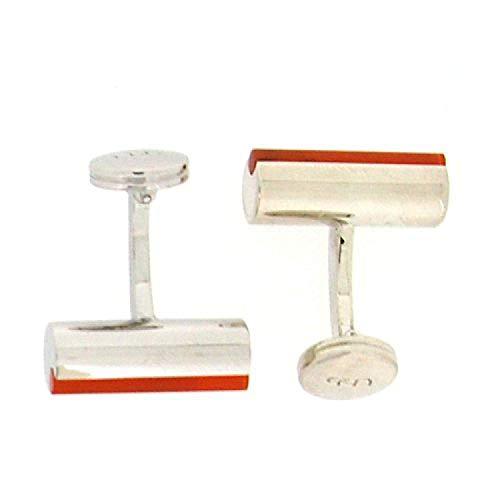 La Olivia Collection Boutons de Manchette en Argent 925 en Forme de Barils avec Bande Orange