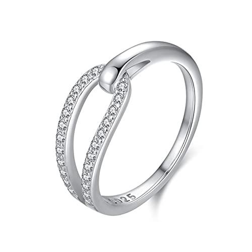 KnBoB Anillos para Novios Plata Anillo Diamantes de Imitación Entrelazados Accesorio de Joyería para Mujer Talla Ajustable