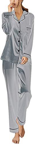 ORANDESIGNE Damen Sommer/Frühling Klassische Schlafanzug Satin V-Ausschnitt Zweiteiliges Pyjama Set A Silber DE 40
