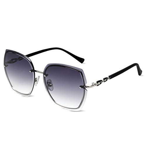 LumiSyne Gafas De Sol Sin Montura Mujer De Gran Tamaño Anteojos Gradiente Transparente Templo De Diamantes De Imitación UV400 Gafas De Sol Sin Marco(Gris Azul)
