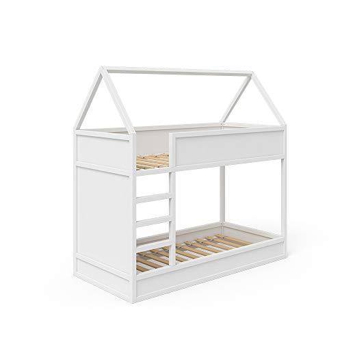 VitaliSpa Hochbett Massimo Kinderbett Etagenbett Doppelstockbett Holzbett Weiß (Weiß)