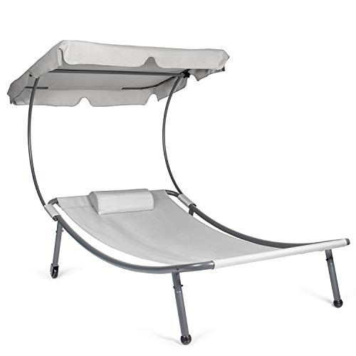 Park Alley Sonnenliege mit Dach, Relaxliege mit Rollen in grau für 1 Person, Gartenliege mit Sonnendach und Kissen, 202x119x160 cm