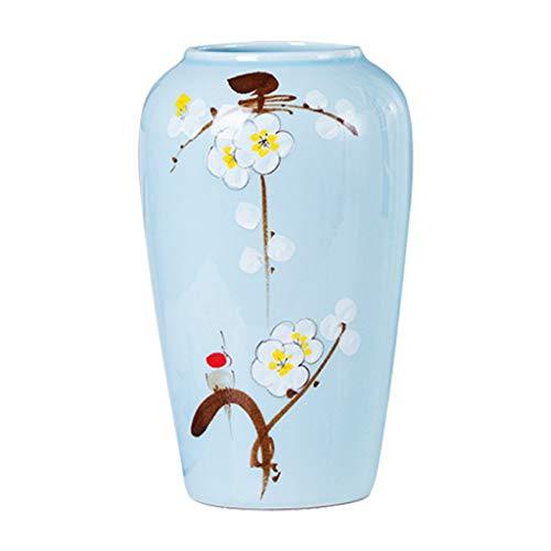 Vase Céramique Vase Classique en céramique Blanc Prunier for Vivre Déco Art Accueil Ménage Chambre Chambre Bureau Table Bleu (Size : M (16 x 30 cm))