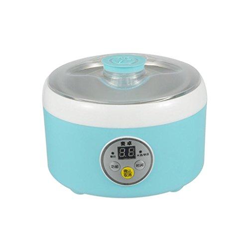 DZW Creatore di Yogurt Digitale Maker Pure Yogurt 1L Rivestimento in acciaio inox Con 4 barattoli di yogurt. | Yoghurt da 24 ore Controllo automatico della temperatura-Rosa e blu Mangiare sano