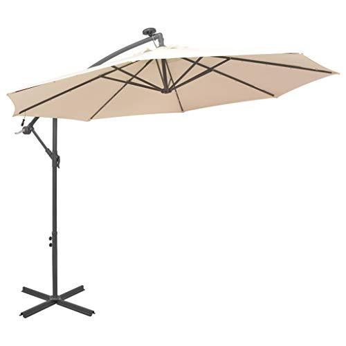 Festnight Zweefparasol met LED-verlichting en metalen paal 300 cm Tuin Parasol Paraplu Buiten Zonnescherm voor Patio/Strand/Zwembad Parasols UV50 + zand
