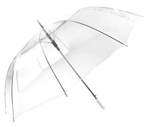 Montagsliebe® Partnerschirm XXL transparent Hochzeit Stockschirm Golf Regenschirm 124cm durchsichtig