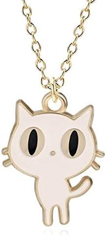LIPPIP88 - Cartoon Animal Charms Pendants Kawaii Tiny Enamel Black White Cat Necklaces for Women Girls Choker Jewelry Bijoux Femme (White)