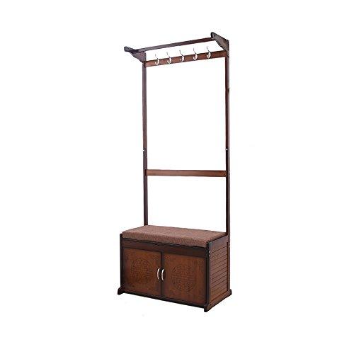 WMMING Escudo de bambú Estante de múltiples Funciones de la Capa de Almacenamiento de Suelo Cap heces Cambio Banco de Zapatos Zapatero Foyer Perchero Percha (Size : EKKLBDK)