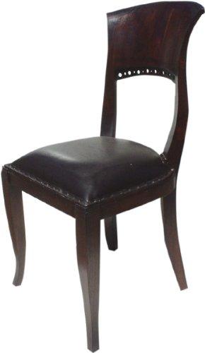 Guru-Shop Stuhl im Kolonialstil mit Gepolsterter Ledersitzfläche - Modell 1, Braun, 95x45x45 cm, Sitzmöbel