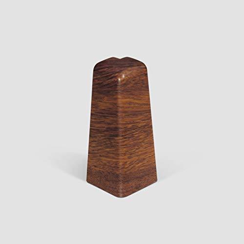 EGGER Außenecke Sockelleiste Universal rotbraun für einfache Montage von 60mm Laminat Fußleisten | Inhalt 2 Stück | Kunststoff robust | Holz Optik rot braun dunkel