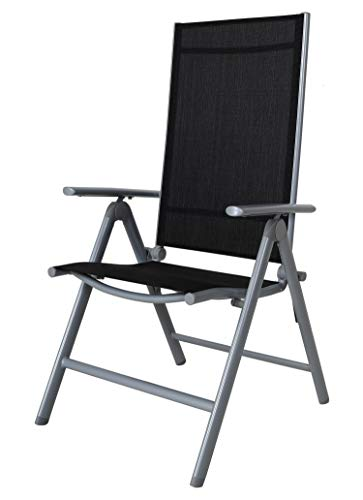 Chicreat High-Back Folding Camping Chair, Silver/Black, Aluminium