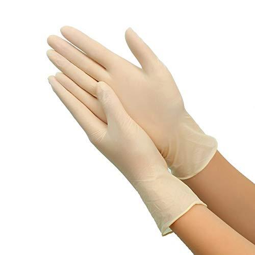 100 stuks in 9 kleuren gebruikt en gooien handschoenen in latex vaatwasser/keuken/werk/rubber/universele tuinhandschoenen voor linker- en rechterhand M. beige, 100 stuks.
