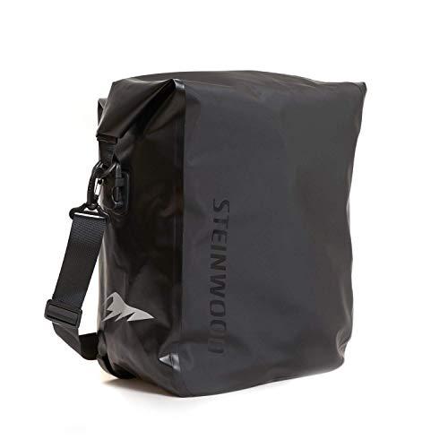 Steinwood Premium Fahrradtasche für Gepäckträger Umhängetasche Fahrradrucksack Satteltasche Gepäckträgertasche Unisex Wasserdicht mit Reflektoren und Abnehmbarem Schultergurt in Schwarz