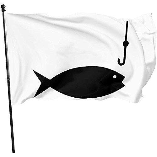 AmyNovelty Outdoor Yard Flag,Angelrute Clipart Doppelseitig Bedruckte Gartenflaggen Für Home Holiday Dekoration 120x180cm