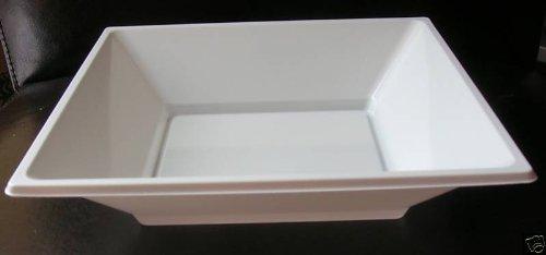 Coupes blanches en plastique jetable fabriquées par GSL, de forme carrée, mesurant 18 cm