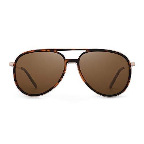 GLINDAR Retro Polarized Aviator Sunglasses Men Women Lightweight Plastic Driving Glasses Tortoise Gold Frame/Brown Lens