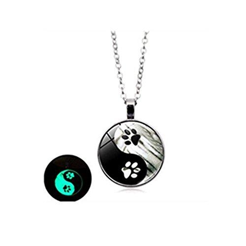 Luminoso collar huella de perro blanco y negro Yin y Yang Cristal Cabujón Colgante Mujeres Joyas