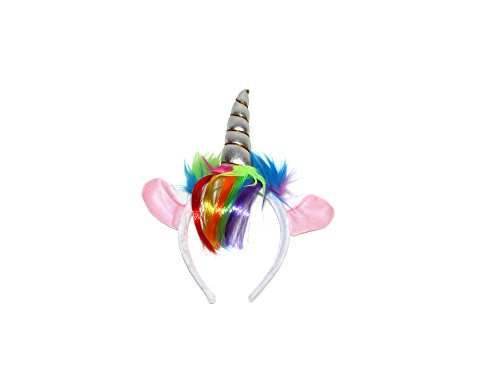 x6 UNICORN OARS MET KLEUR FRINGE OP HEADBAND - FANCY JURK PARTY